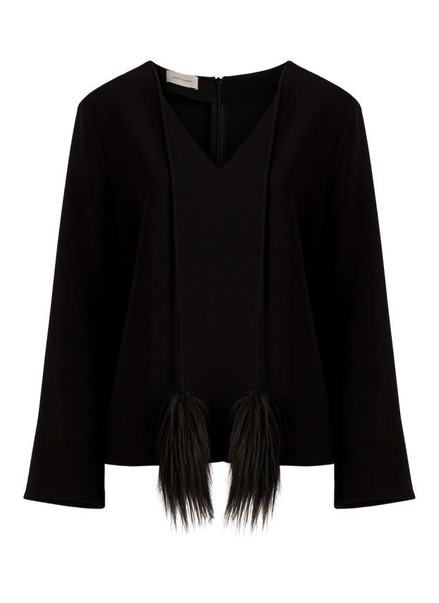 Bluzka czarna z pomponami